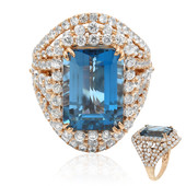 Anillo en oro con Topacio azul de Londres (Dallas Prince Designs)