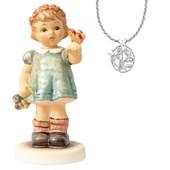 Figura Hummel con collar de plata con topacio blanco