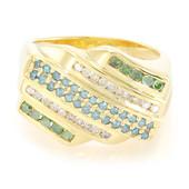 Anillo de hombre en plata con Diamante verde esmeralda